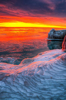 Sunrise Chicago Lake Michigan 1-30-14 by Michael  Bennett