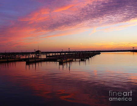 Sunrise Dock Over Lake Huron by Pete Dionne