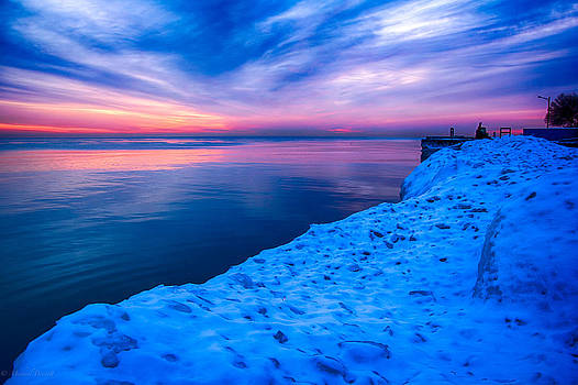 Sunrise Lake Michigan 12-19-13 4 by Michael  Bennett