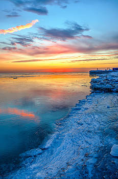 Sunrise Lake Michigan North of Chicago 1-4-14 001 by Michael  Bennett