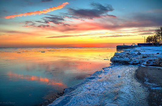 Sunrise Lake Michigan North of Chicago 1-4-14 002 by Michael  Bennett