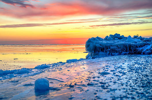 Sunrise Lake Michigan North of Chicago 1-4-14 004 by Michael  Bennett
