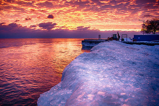 Sunrise Lake Michigan North of Chicago 12-15-13 006 by Michael  Bennett