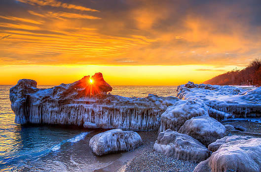 Sunrise North of Chicago Lake Michigan 1-12-14 by Michael  Bennett