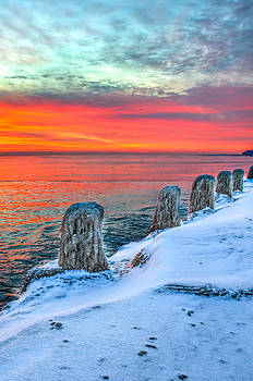 Sunrise North of Chicago Lake Michigan 1-18-14 by Michael  Bennett