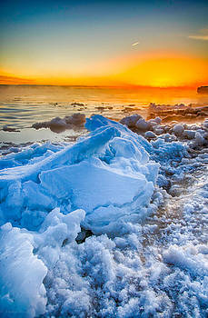 Sunrise North of Chicago Lake Michigan 1-3-14 002 by Michael  Bennett