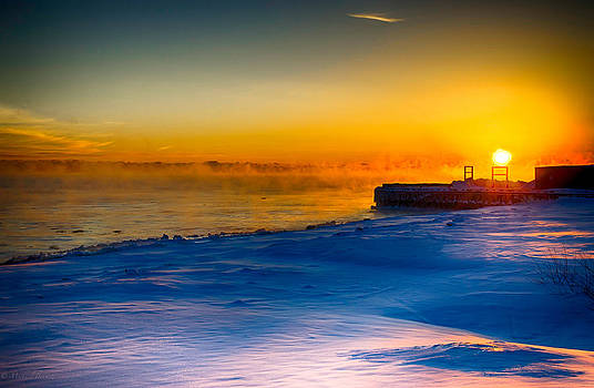 Sunrise North of Chicago Lake Michigan 1-3-14 004 by Michael  Bennett