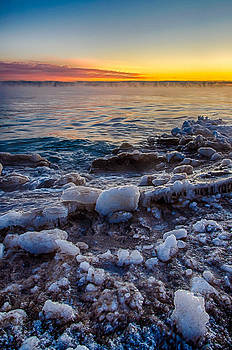 Sunrise North of Chicago Lake Michigan 1-3-14 005 by Michael  Bennett