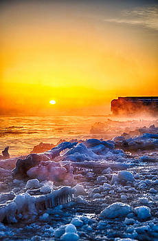 Sunrise North of Chicago Lake Michigan 1-3-14  by Michael  Bennett