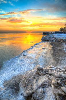 Sunrise North of Chicago Lake Michigan 1-4-14 001 by Michael  Bennett