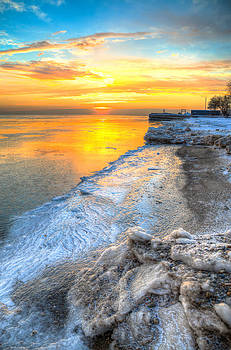 Sunrise North of Chicago Lake Michigan 1-4-14   by Michael  Bennett