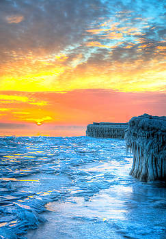 Sunrise North of Chicago Lake Michigan 1-9-14 001  by Michael  Bennett