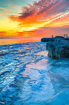 Sunrise North of Chicago Lake Michigan 1-9-14 002  by Michael  Bennett