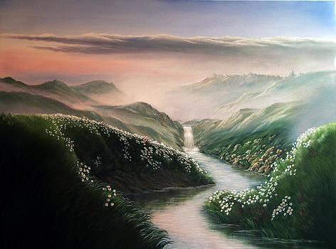 Sunrise on the creek by Artist Karen Barton