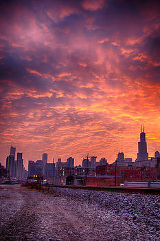 Sunrise Over Chicago Skyline  by Michael  Bennett