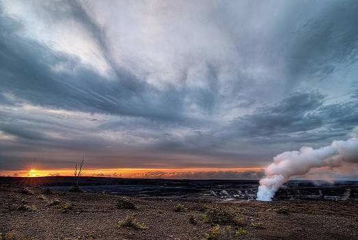 Sunrise over Kilauea Caldera Big Island HI HDR by Preston Broadfoot