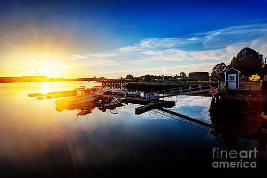 Jo Ann Snover - Sunrise over Prescott Park waterfront