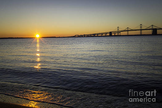 Sunrise Over the Chesapeake Bay Bridge Horizontal by Brycia James