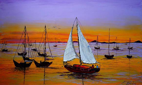 Sunrise Sails 3 by Portland Art Creations