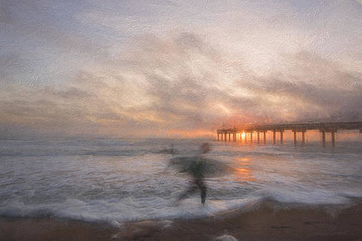 Sunrise surfer by the pier by Stacey Sather