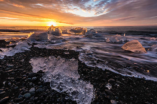 Sunrise through the Ice by Mike  Walker