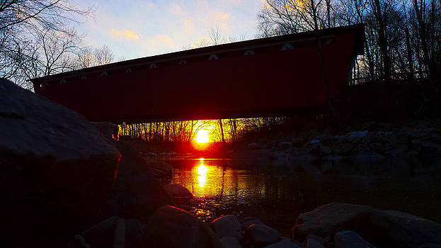 Sunrise Under Covered Bridge by Jeff Picoult