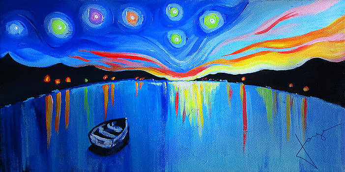 Sunrise at the lake - Van Gogh Style by Jorge Carrillo