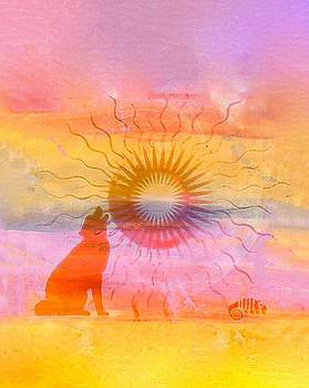 Sunscape with Wolf by Amy G Taylor