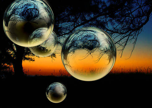 Sunset and Bubbles by Kelly Rockett-Safford