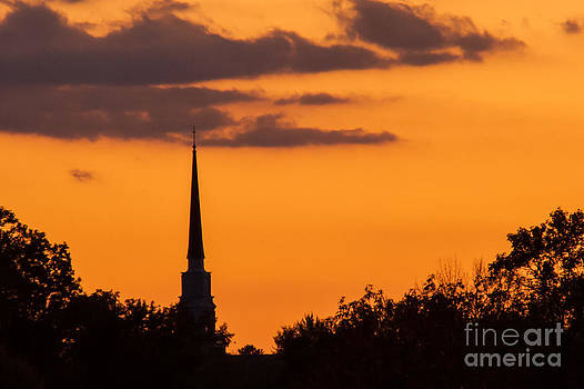 Sunset and Steeple by John Hassler