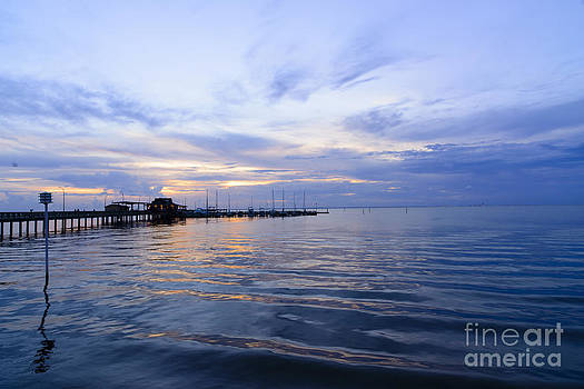 sunset at Fairhope pier by Russell Christie