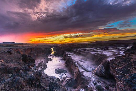 Sunset at Grand Falls  by Stacy LeClair