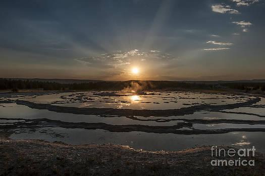 Sandra Bronstein - Sunset At Great Fountain Geyser - Yellowstone