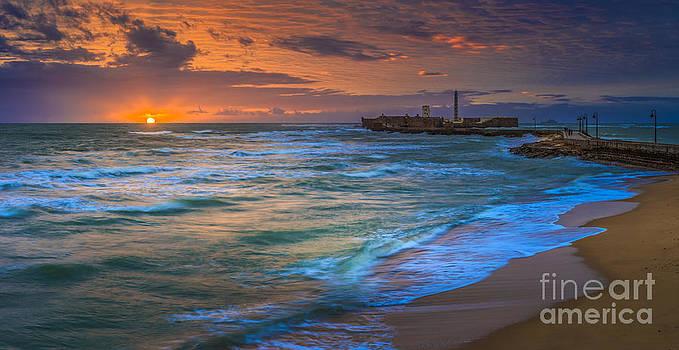 Sunset At La Caleta Beach Cadiz Spain by Pablo Avanzini
