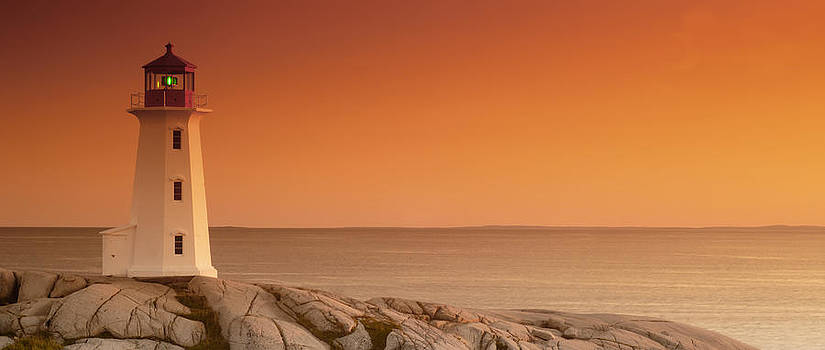 Sunset At Peggy's Cove Lighthouse by Norman Pogson