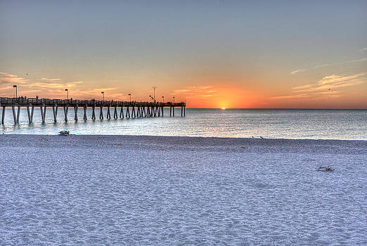 Sunset at pier  by Gerald Adams