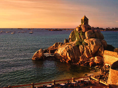 Sunset at Port Blanc - Cote de Granit Rose by Menega Sabidussi