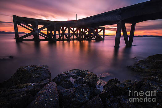 Sunset at Portencross Jetty by Fiona Messenger