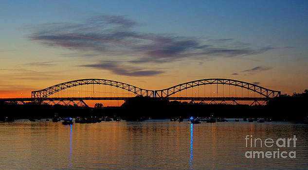 Sunset  At The Arrigoni Bridge. by Marcel  J Goetz  Sr