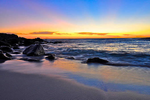 Sunset at the beach by Sally Nevin