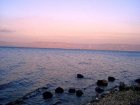 Sandra Pena de Ortiz - Sunset at the Sea of Galilee