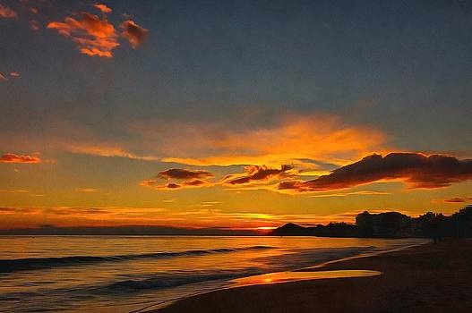 Sunset at the seaside in Benidorm Spain by Mick Flynn