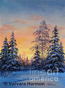 Sunset at Winter Forest by Varvara Harmon