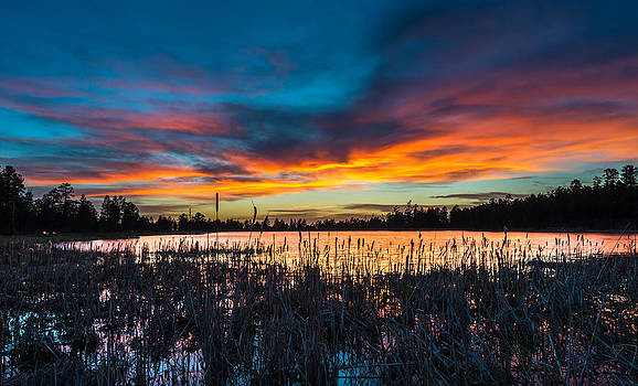 Sunset at Woodland Lake by M Chris Brandt