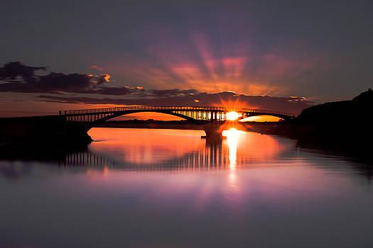 Sunset bridge by Thorir Bjorgvinsson