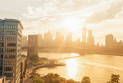 Sunset - Brooklyn Bridge - New York City by Vivienne Gucwa