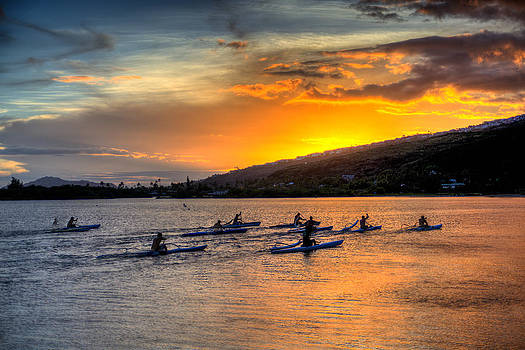 Sunset Canoes by Robert Bishop
