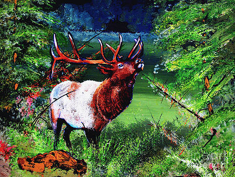 Sunset Elk by Wayne  Ligon