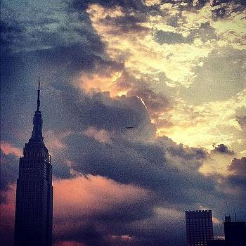#sunset #empirestate #nofilter #nyc #sun by Matthew Tarro