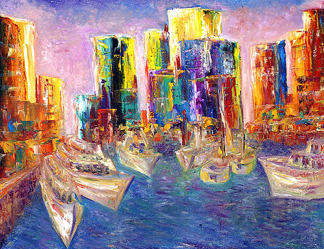 Sunset In A Harbor by Helen Kagan